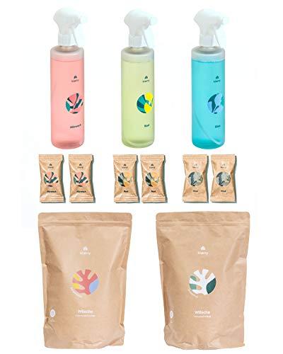 KLAENY® Allrounder-Set Nachhaltiges Putz- und Waschmittel - Badreiniger Allzweckreiniger Glasreiniger (je 2 Stück) (inklusive Flaschen) - Voll- und Colorwaschmittel (je 2kg) (Allrounder Set)
