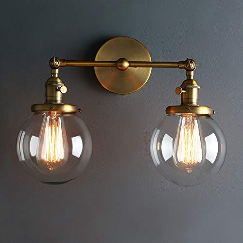 Leohome Moderne vintage loft globe glas dubbele koppen wandlamp retro glazen bol wandlamp landhuisstijl E27 Edison wandlampen lampen lampen