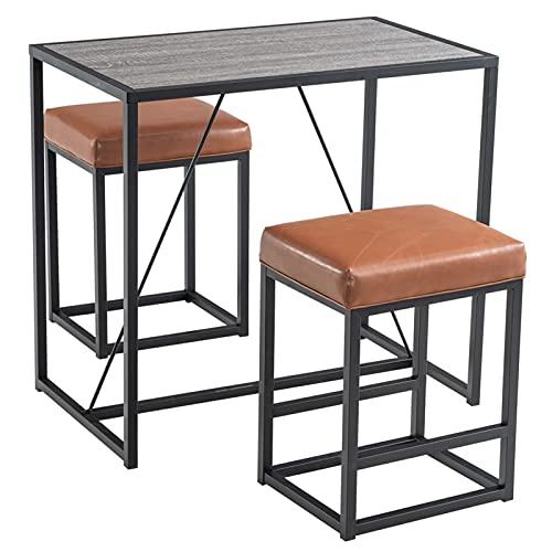Conjuntos de Muebles de Patio Conjuntos de sillas de Mesa de Comedor 3PCS 1 * Tabla de Nuez 2 * PU Taburetes Gris rectángulo Estudio Informática Escritorio Bar Muebles para el hogar Pintura Negro por