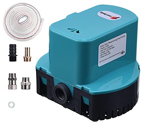 Pool Cover Pump, Submersible Pool Cover Pump 1200 GPH, Above Ground Swimming Sump Pump with 4 Adapters 16ft Drainage Hose, Ideal for Pool Draining