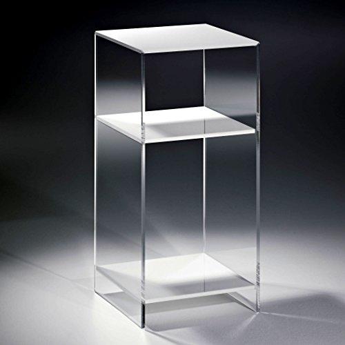 HOWE-Deko Hochwertiges Acryl-Glas Standregal, Konsole mit 2 Fächern, Regalböden weiß, Seiten klar, 25 x 25 cm, H 55 cm, Acryl-Glas-Stärke 8 mm