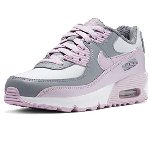 Nike Air MAX 90 LTR, Running Shoe Unisex-Child, Gris Partícula/Polvo Fotón/Blanco/Lila Helado, 38.5 EU
