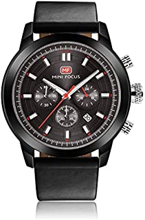 Mini Focus Mens Quartz Watch, Chronograph Display and Leather Strap - MF0112G.01