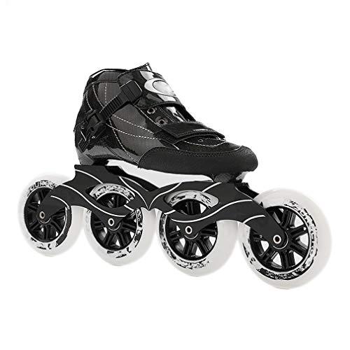 Sljj Erwachsener Im Freien Beruf 90/100 / 110mm 4-Rad Inline Skate, Rennen Der Rochen Für Männer Und Frauen (Color : Black, Size : 45 EU)