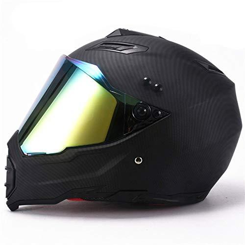 MYSdd Vollgesichts Mountainbike Helm Motorradhelm dunkler Schatten Straße Auto Motorrad Reise ABS Helm leicht und bequem Futter abnehmbar - matt Material1 XM