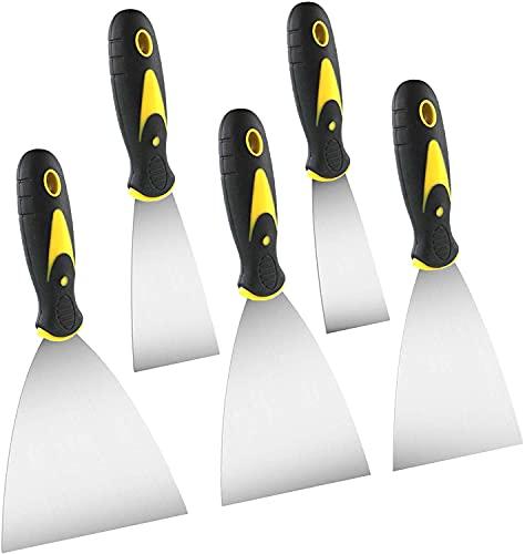 Malerspachtel Spachtel Set mit Kunststoffgriff, Palettenmesser Kratzer zum Palettenmesser Kratzer zum Entfernen rostfrei Putty Messer, 38mm, 50mm, 76mm, 101mm und 126mm 5 Stücke