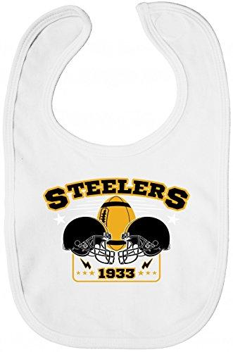 Shirt Happenz Steelers Lätzchen | 1933 | Super Bowl | American Football | Sabberlätzchen | Baby-Lätzchen, Farbe:Weiß (White BZ12);Größe:OneSize