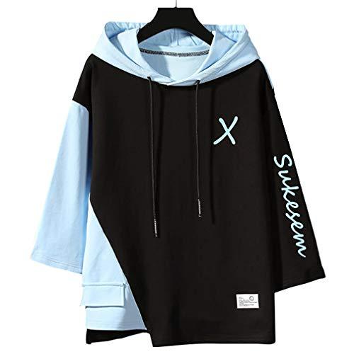 SUKESEM パーカー メンズ 半袖 七分袖 tシャツ おしゃれ 大きいサイズ フード付き ゆったり スポーツウェア カジュアル プルオーバー (黑, M)