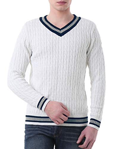 uxcell Men's Casual Soft V Neck Sweater Long Sleeves Ribbed Cable Knitted Pullover Jumper White 38