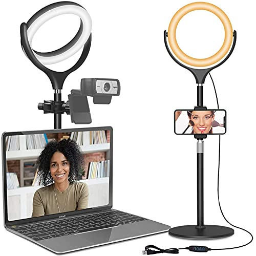 Computer Ring Light for Video Conferencing Lighting - Desk Circle Light for Laptop with Stand & Phone Holder, Selfie Ring Light for Webcam Light, Video Recording, Zoom Meeting, Makeup, Live Stream
