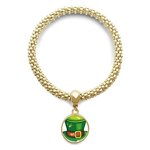 DIYthinker Damen Glanz Gruen Hut Irland St.Patrick Tag Golden Armband Laufende Anhänger Schmuck-Kette
