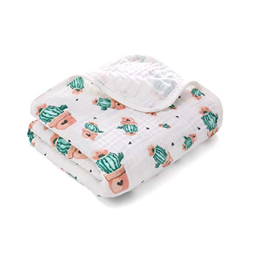 Miracle Baby Muslin Swaddle Blankets Large Cotton Receiving Blanket Nursing Cover 59''x 39'' (2 Layers, Cactus)