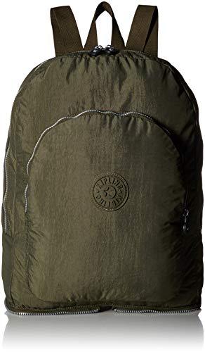 Kipling Damen Foldable Backpack, Essential Travel Bag, Jaded Green Earnest, Faltbarer Rucksack/Reisetasche für wesentliche Utensilien, Grün (Farbton, Einheitsgröße