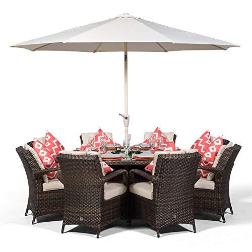 Arizona Luxury Large 8 Seater Brown Rattan Dining Set with Ice Bucket