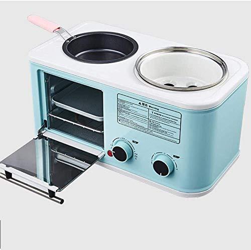 GALIMAXIA Elektro 3 in 1 Haushalts Frühstück Maschine Mini Brot Toaster Backen Backofen Omelett braten Pfanne heiß Pot Boiler Dampfgarer (Color : Blue)