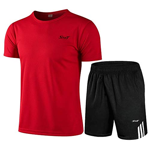 WYYH Homme Sport Outdoor Quick Dry Tops Men Short Sleeved T-Shirt Extensible Shorts, pour Cyclisme Fitness Running