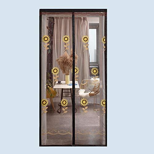 CHOUE Kaffee Sonnenblumenmuster Insektenschutz Plissee Tür 100x220cm / 39x86inches Insektenschutzgitter Fenster für Balkon Französisch Türen,Ohne Bohren
