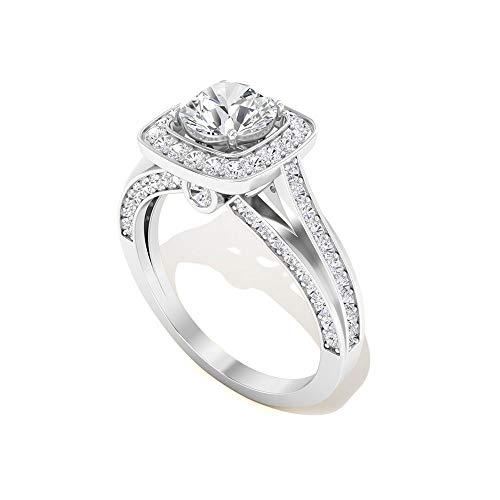 Anillo de compromiso con certificado IDCL de Moissanite de 0,60 ct, solitario antiguo anillo de novia de piedra preciosa, DEF-VS1 claridad de color, 14K Oro blanco, Size:EU 45