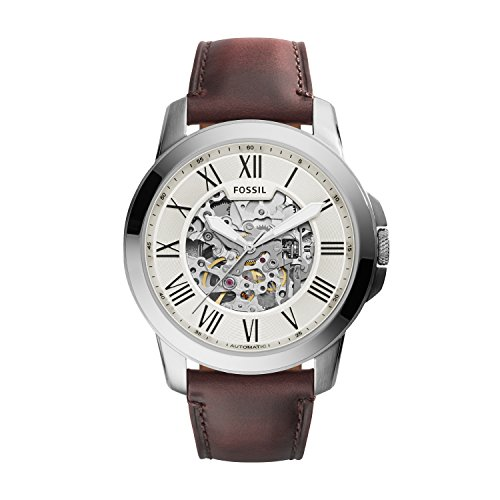 Fossil Herren Analog Automatik Uhr mit Leder Armband ME3099