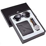 MUKEE Cumpleaños-Regalo-de-Hombres Hombres-Regalo-Set Juego de Reloj de los Hombres del Cuero Artificial Reloj + Gafas de Sol + Monedero Conjunto de Regalo con la Caja de Regalo del Organizador