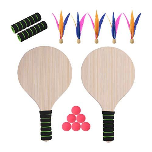BESPORTBLE Juego de raqueta de playa, portátil, divertido, interesante, tenis, bádminton, críquet, tenis de mesa, tenis de mesa, playa, raqueta de madera para adultos y niños