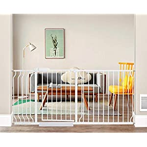 ALLAIBB Extra Wide Pressure Mounted Baby Gate Walk Through Child Kids Safety Toddler Tension White Long Large Pet Dog Gates with Extension for doorways Kitchen (66.93″-71.65″/170-182cm)