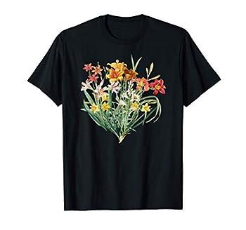 Variety of Lillies Graphic Flower Print Flowered T-Shirt T-Shirt