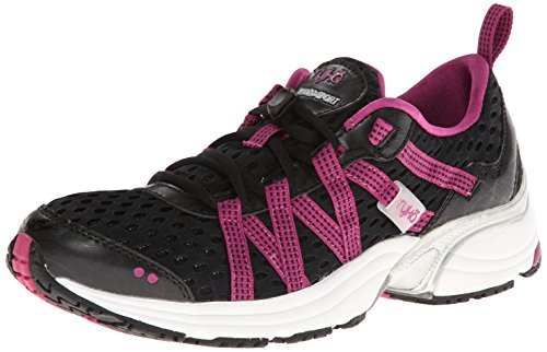 RYKA Women's Hydro Sport Water Shoe Cross Trainer, Black/Berry/Chrome Silver 9 M US
