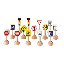 PLAN TOYS- Set of Traffic Signs & Lights (USA), Colore Legno, 6010