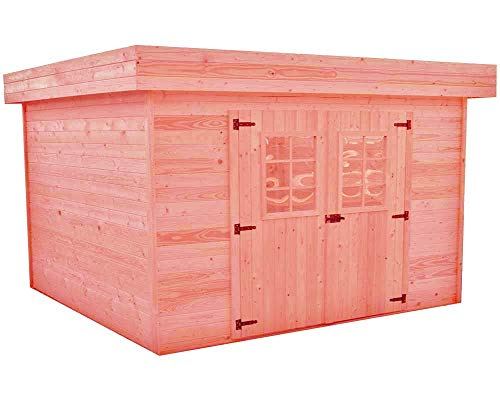 Abri madriers en Douglas Massif Toit Plat - 14,74 m2