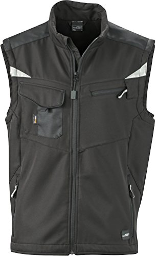 James & Nicholson FaS50845 Workwear Softshell Weste atmungsaktiv Herren, Größe:M, Farbe:Black/Black