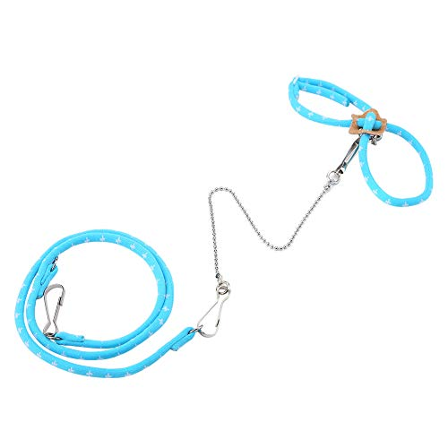 Pet Hamster Training Lead, Mouse Mice Stripe Chaleco Arnés Lead Rope Walking with Finder Bell(Azul)
