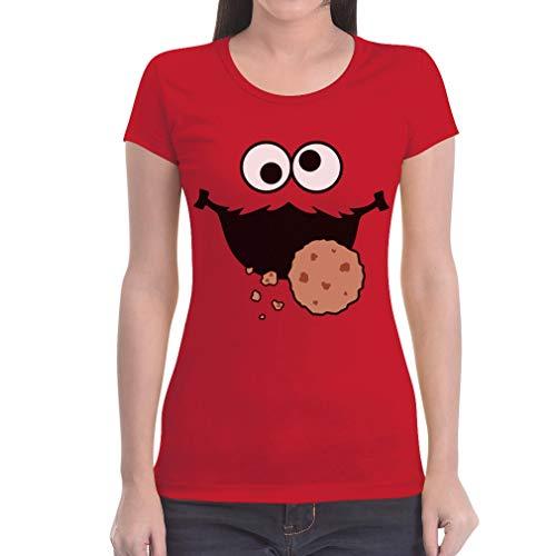 Karneval & Fasching Keksmonster Krümel Kostüm T-Shirt Damen T-Shirt Slim Fit X-Large Rot