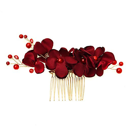 Monrocco Pearl Flower Hair Side Comb Floral Hair Comb Wedding Headpiece Comb Hair Accessory for Women (Red)