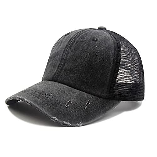 Voilalove Vintage Ponytail Top Sombreros para las Mujeres Gorras de Béisbol Alto Desordenado Bun Hat Ponycaps Gorra de béisbol ajustable Mesh Back Trucker Hat