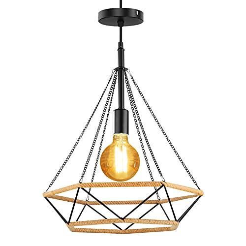 Horevo Lámpara Colgante industrial Vintage, Cuerda de cáñamo Retro Lámpara de Techo Colgante, E27 Lámpara de suspensión de jaula de hierro en forma de diamante para comedor, salón, cocina