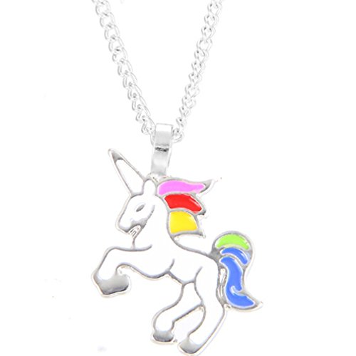 HENGSONG White Unicorn Necklace Pendant Necklace Chain Necklace Jewelry for Women Girls Gifts (Silver Color Chain)