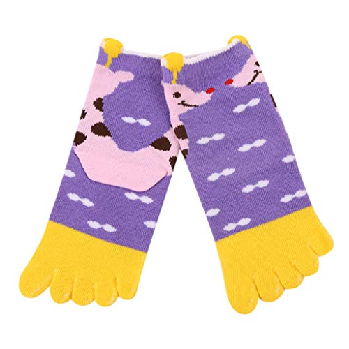 Sensail Enfants chaussettes enfants dessin animé animaux girafe imprimer cinq orteils chaussettes chaussettes en coton antidérapant bébé enfant fille