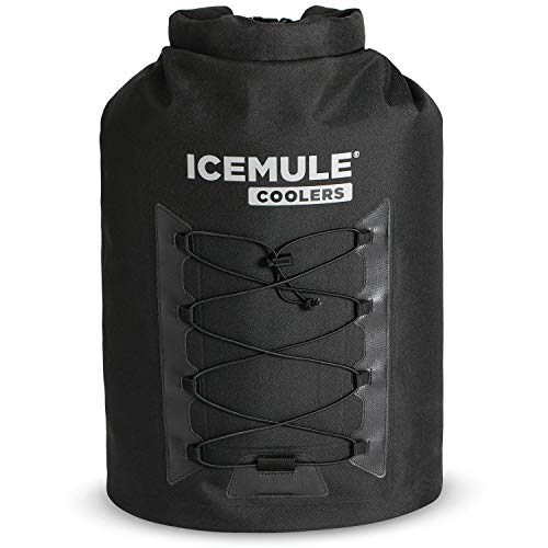 IceMule 1014-BK Pro Large Collapsible Portable Soft Sided Roll Top 23 Liter 18 Can Lightweight Insulated Waterproof Leak Proof Backpack Cooler Bag, for Hiking, Camping, Fishing, & Picnic