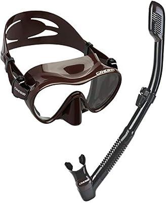 Cressi Scuba Diving Snorkeling Freediving Mask Snorkel Set, Brown Camo
