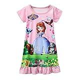 Pnfly Sofia Toddler Girls Short Sleeve Princess Dress Casual Pajamas Nightgown