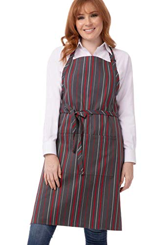 Chef Works Unisex Striped Bib Apron, Gray/Char/Red 34-Inch Length by 24-Inch Width