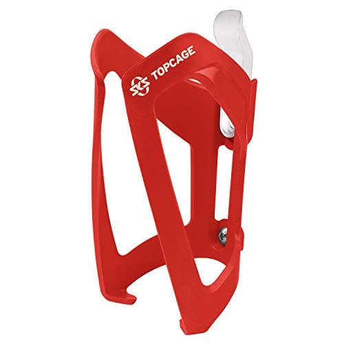 SKS GERMANY TOPCAGE Flaschenhalter für Fahrräder (Fahrrad-Flaschenhalter aus hochfestem sowie leichtem Kunststoff, verstellbarer Anschlag, variable Fanghaken für sichere Arretierung), Rot