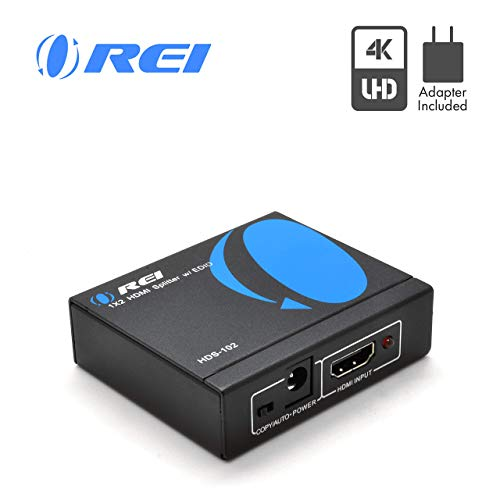 Lowest Price! 4K HDMI Splitter 1 in 2 Out by OREI - Ultra HD @ 30 Hz 1x2 Ver. 1.4 HDCP, Power HDMI S...
