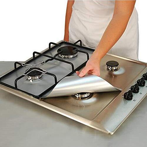 Protectores de gama de gas para herramientas de cocina, 4 piezas, tapas reutilizables antiadherentes y gruesas para cocina, fácil de limpiar