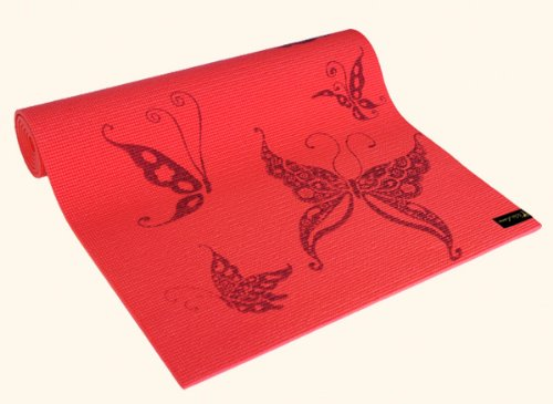 Wai Lana Extra Thick Yoga and Pilates Mat (Butterfly, Cream)- 1/4 Inch Thick, Latex-Free, Non-Slip, Lightweight, Easy Wash