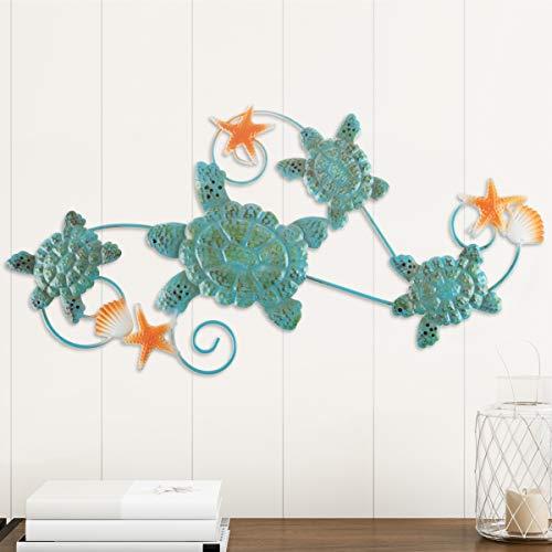 Lavish Home Turtles Wall Art with Shells and Starfish Nautical 3D Metal Hanging Decor-Vintage Coastal Under Water Sea Life Ocean Home Artwork