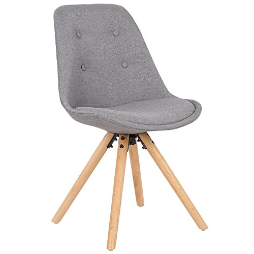 WOLTU Dining Chair Tulip Chairs Kitchen Counter Lounge Leisure Living Room Corner Chair Grey Chair Linen Reception Chair with Backrest & Soft Seat Cushion