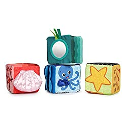 Shapes block features multi-textured fabrics for tactile stimulation Animal block features a chime ball for fun sounds Color block has fun vibe and the names of colors shown in English, Spanish and French Numbers block has a peek-a-boo mirror for sel...