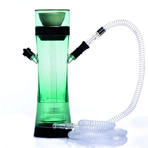 Haken-Set, deutsches Style-HukAh-Set mit klaren Vase für besseres Shisha-Hukahn Narguile Rauchen geeignet für Familien Bars Clubs Luxushotels und andere Orte (Color : Grün)